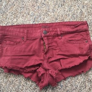 Burgundy RBC distressed shorts